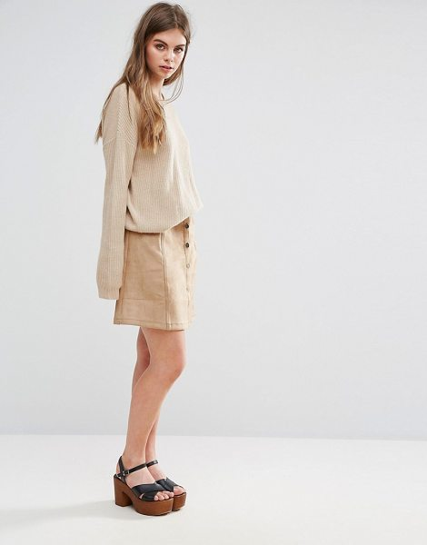 "Oeuvre Oeurve Faux Suede Mini Skirt in brown - """"Mini skirt by Oeurve, Faux-suede, High-rise waist,..."