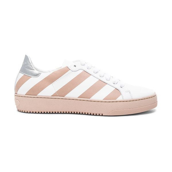 OFF-WHITE Classic Diagonals Leather Sneakers in neutrals,white,stripes - Leather upper with rubber sole.  Made in Italy. ...