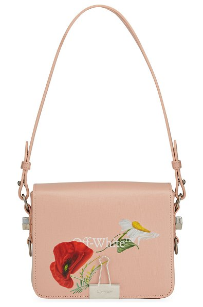 OFF-WHITE Flowers Flap Shoulder Bag in nude red
