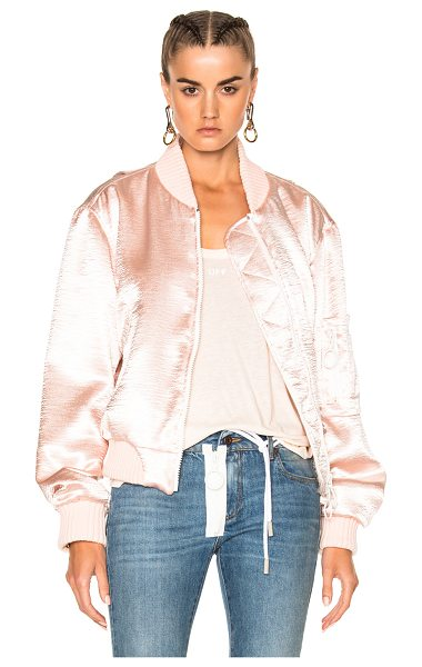 OFF-WHITE for FWRD Shiny Bomber Jacket - 100% poly.  Made in Italy.  Dry clean only.  Satin crepe...