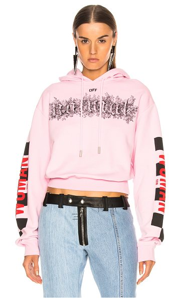OFF-WHITE Taxi Cropped Hoodie in pink - Self: 100% cotton - Embroidery: 100% viscose - Rib: 95%...