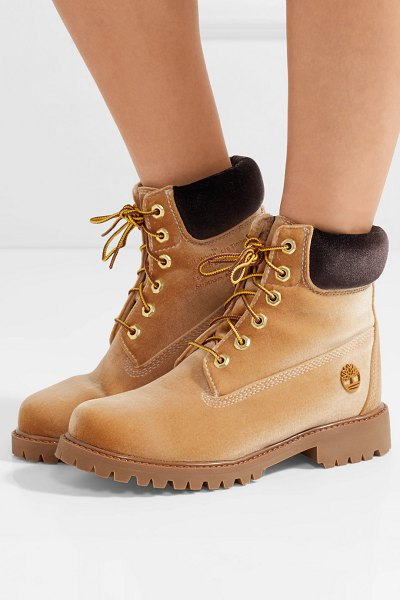 OFF-WHITE timberland logo-embossed velvet ankle boots in tan - Off-White has collaborated with Timberland to create a...