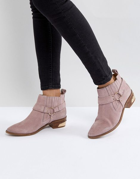Office atlas blush suede western boots in pink - Boots by Office, Elasticated inserts, Back tab, Buckle...
