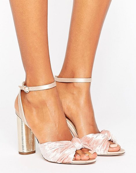 Office blush velvet heeled sandals in pinkvelvet