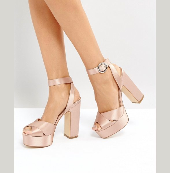 "Office harley satin platform sandals in pink - """"Sandals by Office, Smooth satin upper, Matte finish,..."