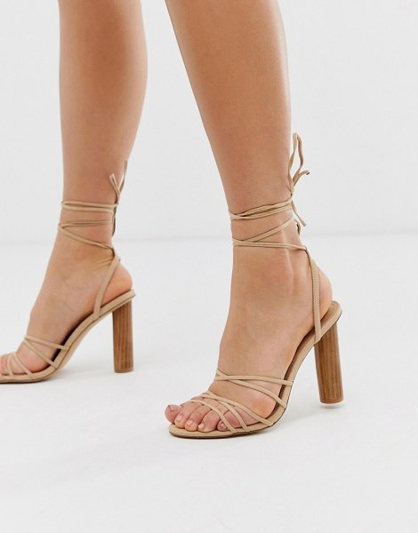 Office heartbeat light pink tie up heeled sandals with cylindrical heel in pink