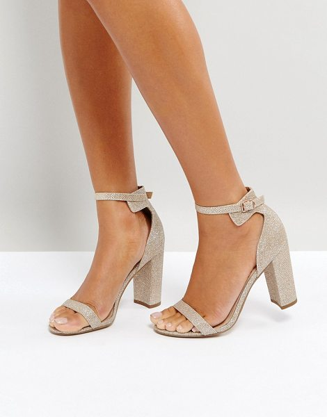 Office hip heeled sandals in rosegold - Heels by Office, Textured glitter upper, Rose-gold-tone...