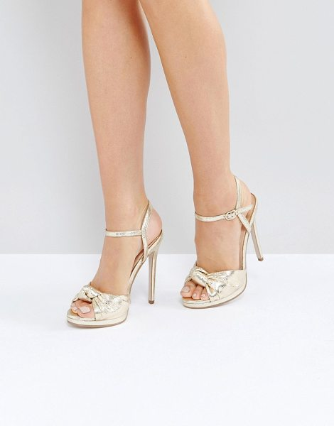 Office hold tight gold platform sandals in gold