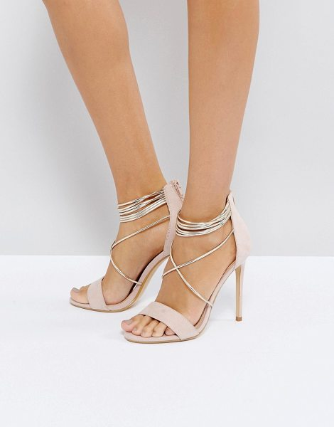 Office hollywood blush heeled sandals in pink - Heels by Office, Textile upper, Zip-back fastening, Wrap...