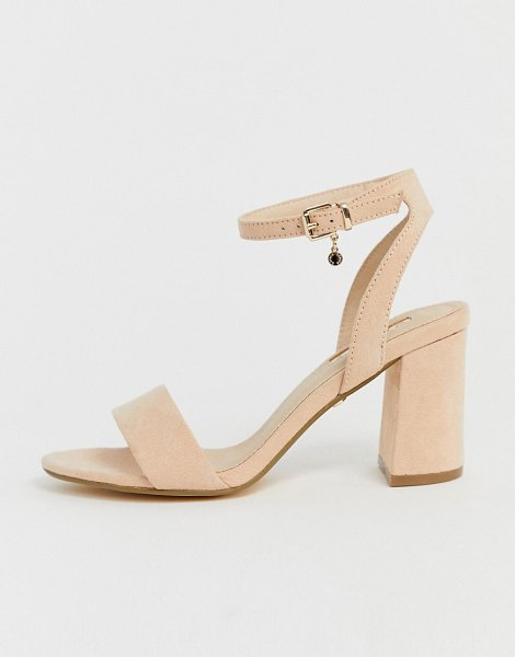Office marigold light pink block heeled sandals in beige