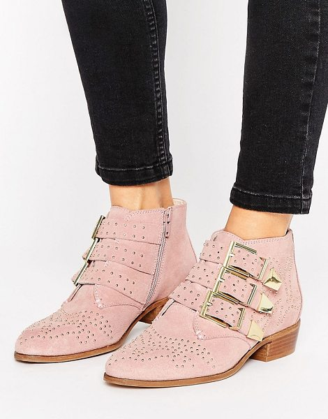 Office Stud Blush Suede Ankle Boots in pink - Boots by Office, Suede upper, Zip-side fastening,...