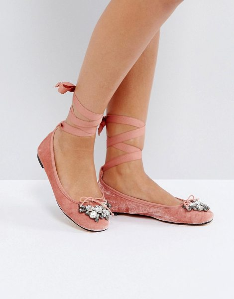 Office velvet ballet shoes in pinkvelvet - Flat shoes by Office, Velvet upper, Lace-up ankle...