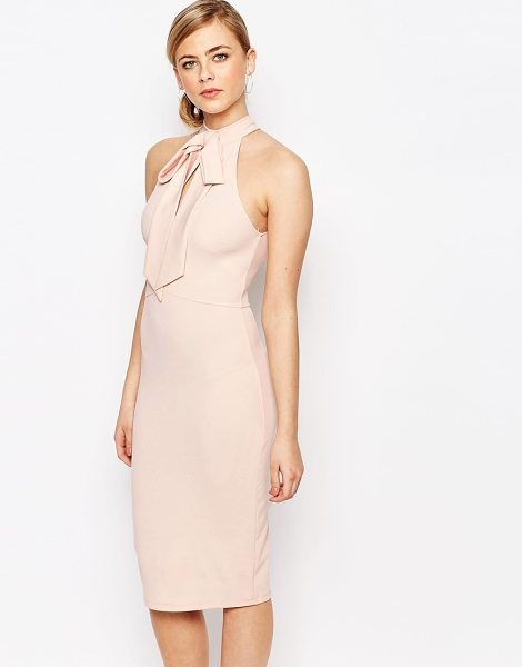 Oh My Love Bow Cut Out Midi Dress in pink - Midi dress by Oh My Love, Stretch knitted fabric, High...