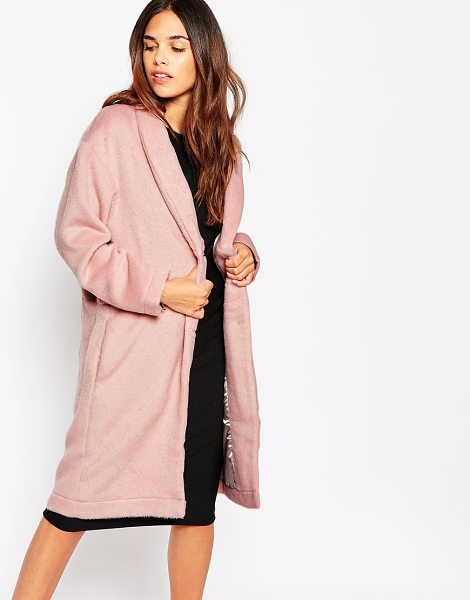 "OH MY LOVE Brushed Duster Coat in pink - """"Coat by Oh My Love, Brushed woven fabric, Fluffy..."
