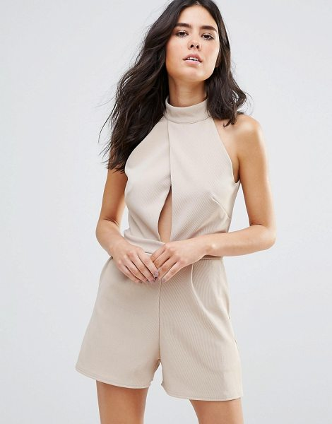 Oh My Love Choker Detail Jumpsuit in beige - Jumpsuit by Oh My Love, Smooth stretch fabric,...
