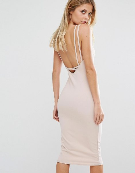 "Oh My Love Cross Strap Midi Dress in pink - """"Midi dress by Oh My Love, Smooth stretch fabric,..."