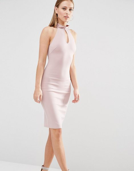 "OH MY LOVE Frill Neck Racer Midi Dress With Keyhole - """"Midi dress by Oh My Love, Smooth woven fabric, Frilled..."