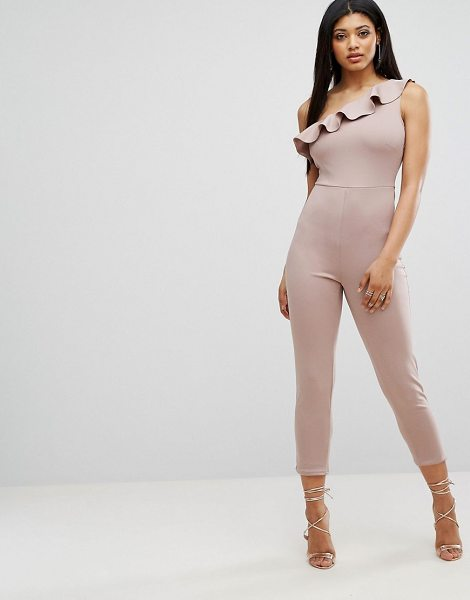 "Oh My Love Frill One Shoulder Jumpsuit in pink - """"Jumpsuit by Oh My Love, Smooth stretch fabric,..."