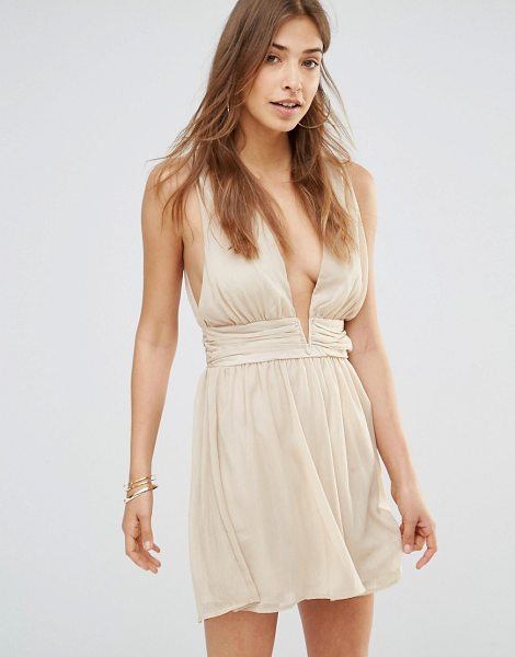 Oh My Love Grecian Mini Plunge Dress in gold - Dress by Oh My Love, Lined chiffon, Plunge neckline,...