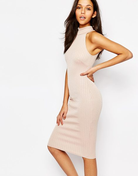Oh My Love High Neck Midi Pencil Dress in pink - Evening dress by Oh My Love, Ribbed knit, Turtle...