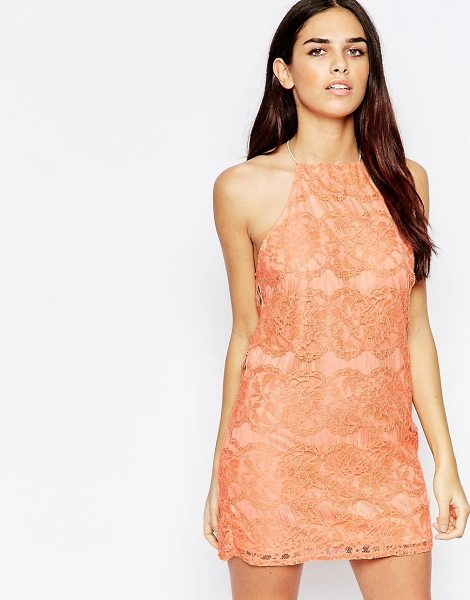 "Oh My Love Lace Mini Dress with Open Back in pink - """"Dress by Oh My Love, Lined lace, Square neckline,..."