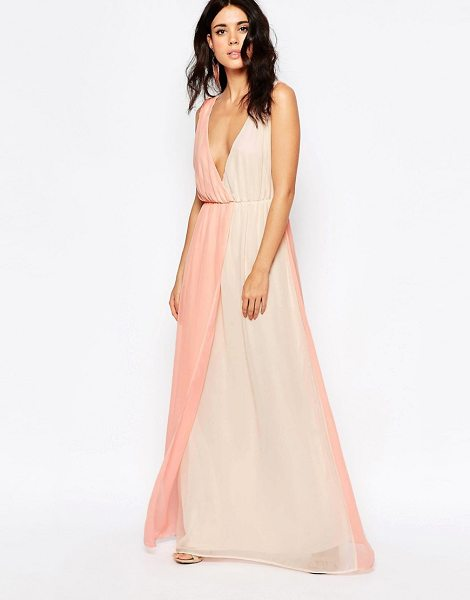 Oh My Love Maxi dress in two tone pastels in pink - Maxi dress by Oh My Love, Lightweight fabric, Plunge...