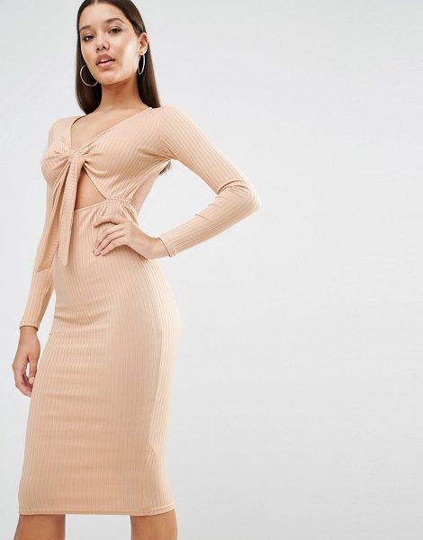 "OH MY LOVE Midi Dress in Rib with Front Bow - """"Midi dress by Oh My Love, Ribbed stretch jersey,..."