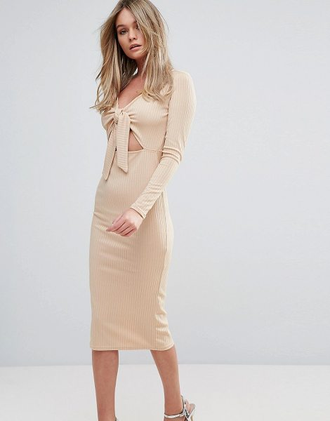 "Oh My Love Midi Dress In Rib With Front Bow in tan - """"Midi dress by Oh My Love, Ribbed jersey, V-neck, Tie..."