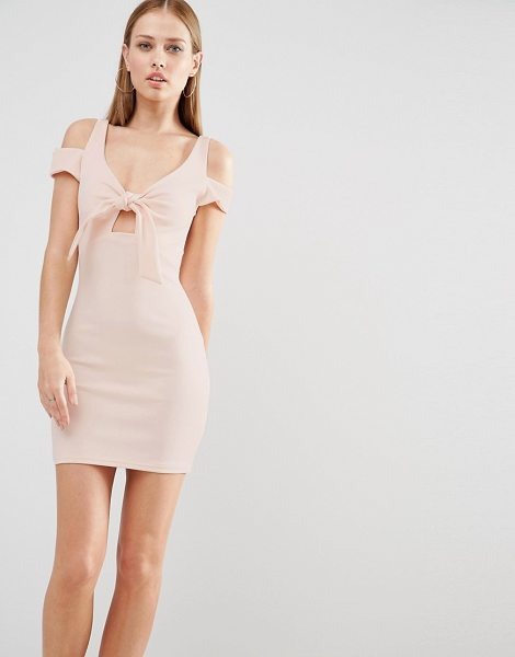 "Oh My Love Mini Bodycon Dress With Bow Front in pink - """"Bodycon dress by Oh My Love, Stretch woven fabric,..."