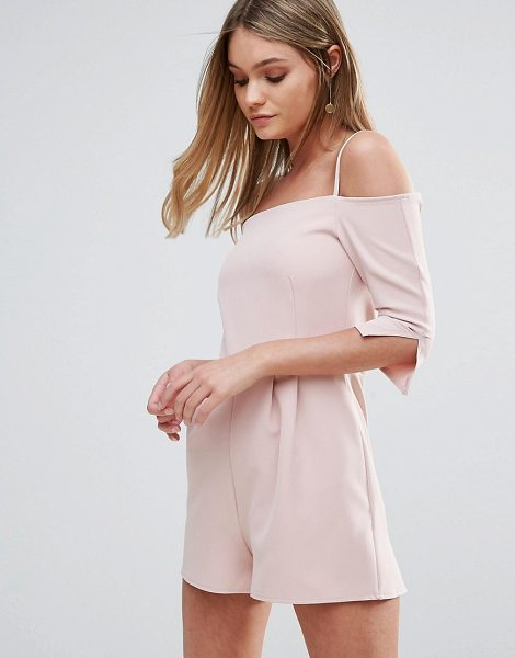Oh My Love Off Shoulder Romper With Straps in pink