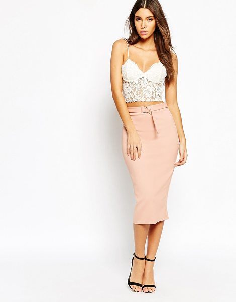 Oh My Love Pencil skirt with metal hardware belt detail in pink - Skirt by Oh My Love, Smooth stretch knit fabric, High...