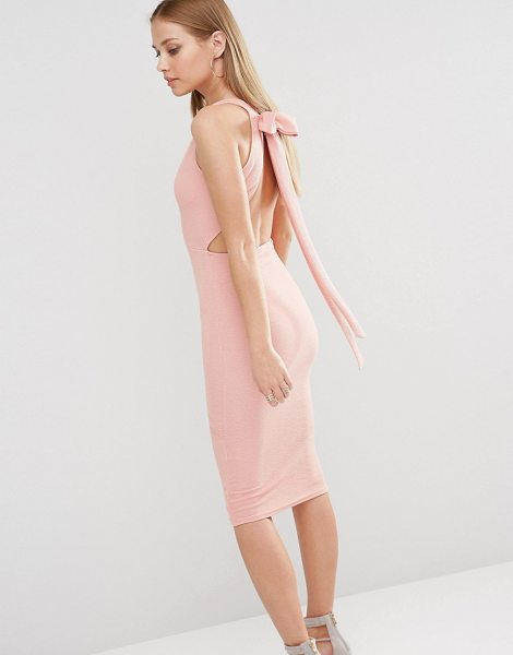 OH MY LOVE Plunge Bow Back Midi Dress - Midi dress by Oh My Love, Woven fabric, Plunge...