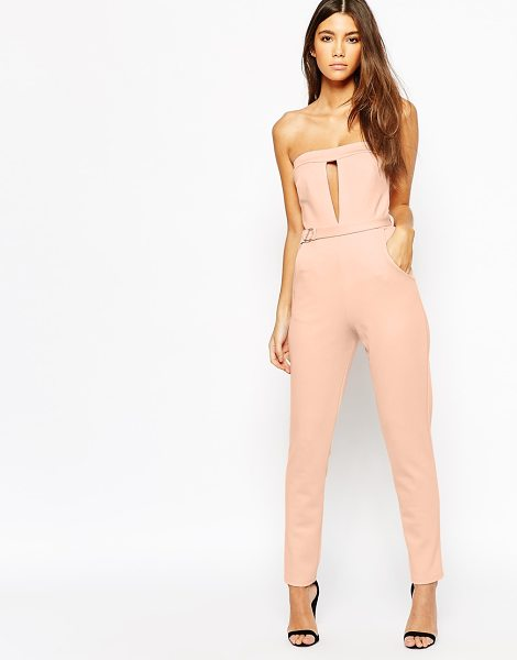 Oh My Love Plunge Catsuit With Metal Bar Detail in pink - Jump suit by Oh My Love, Stretch knit fabric, Bandeau...