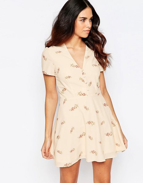 Oh My Love Printed tea dress in pink flora - Dress by Oh My Love Lined woven fabric V-neckline...