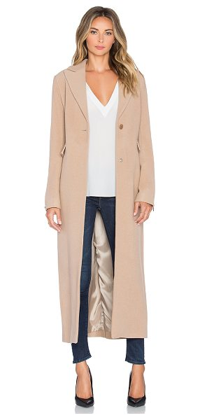 Olcay Gulsen Oxford Coat in tan - 70% wool 20% polyamide 10% cashmere. Dry clean only....