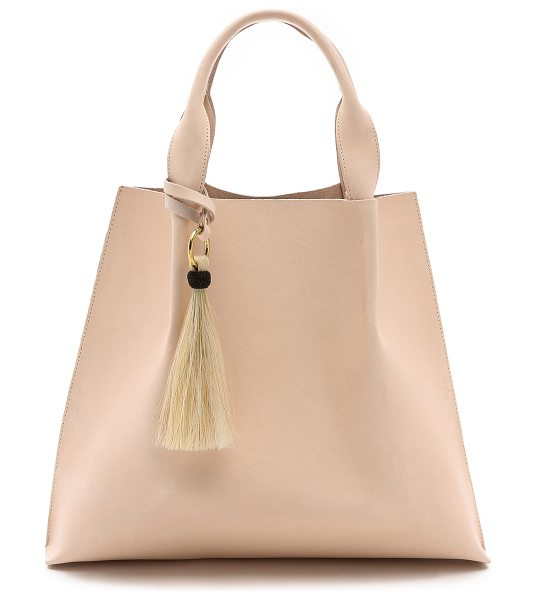 Oliveve Maggie tote in pink - Thick, bridle leather brings rigid structure to this...
