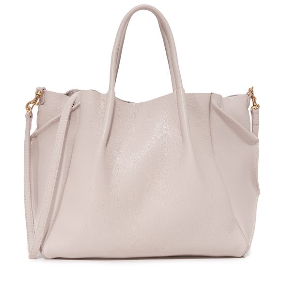 Oliveve zoe tote in buff - Folded gussets enhance the slouchy profile of this...