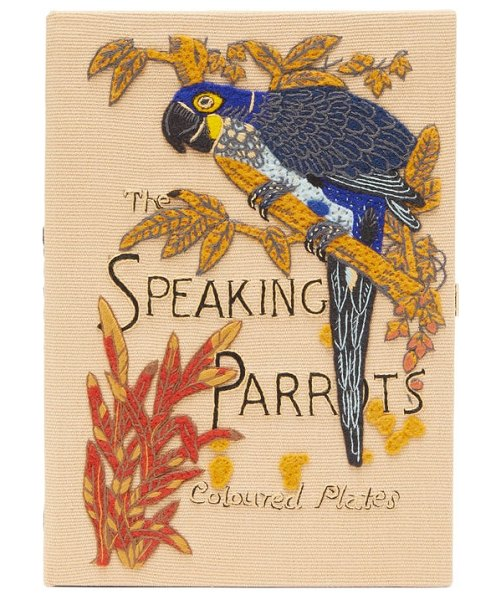 Olympia Le-Tan the speaking parrots-embroidered canvas clutch in beige multi