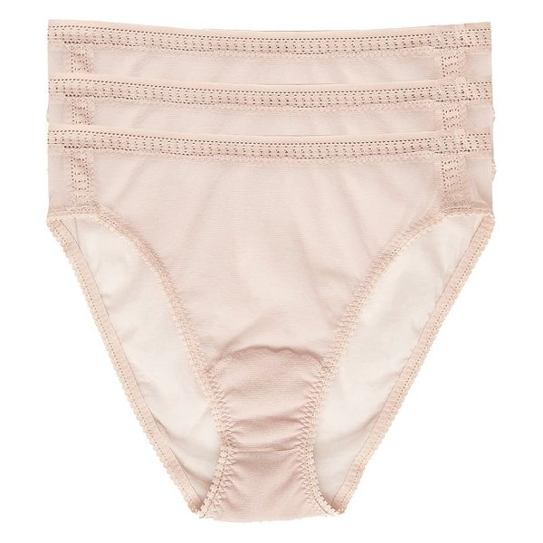 On Gossamer 3-pack mesh high cut briefs in beige