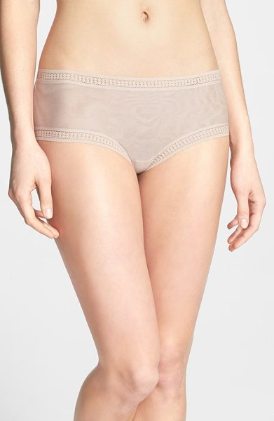 On Gossamer mesh hipster boyshorts in champagne - Cutout trim frames semi-sheer mesh boyshorts that rest...