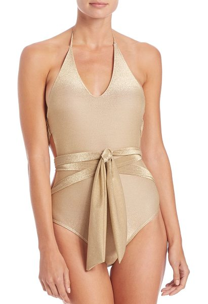 OndadeMar one-piece wrap swimsuit in gold - Metallic one-piece elevated with wrap design. Halter...