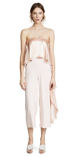ONE by Mestiza New York one by jacqueline cropped jumpsuit with ruffle in millennial pink - Fabric: Stretch weave Loose ruffle overlay at bodice &...