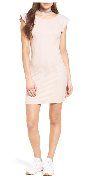 One Clothing ruffle trim ribbed body-con dress in light pink - Ribbed stretch jersey flaunts curves in a casual...