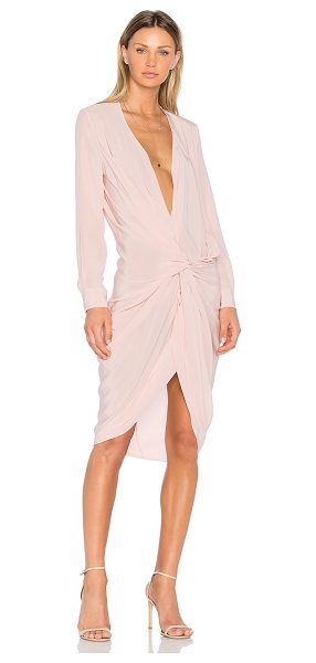 One Fell Swoop Elana Shirt Dress in pink - 100% silk. Dry clean only. Unlined. Front twist detail....