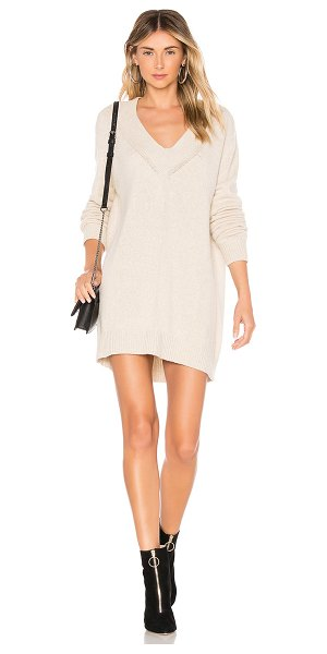 One Grey Day Danny Dress in beige - Wool blend. Hand wash cold. Unlined. Knit fabric. Rib...