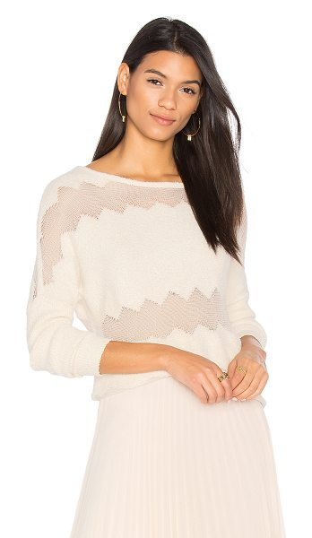 One Grey Day Rona Fringe Sweater in sand - Self: 100% cottonContrast: 61% cotton 17% nylon 13% poly...
