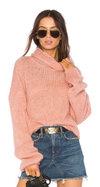 one on one Painterly Sweater in pink - Wool blend. Hand wash cold. Rib knit edges. ONON-WK6....