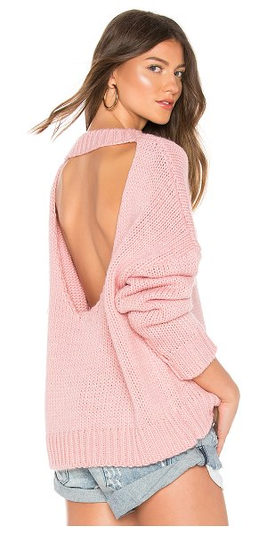 One Teaspoon Pamela Open Back Sweater in pink - Acrylic/cotton blend. Knit fabric. Cut-out back detail....