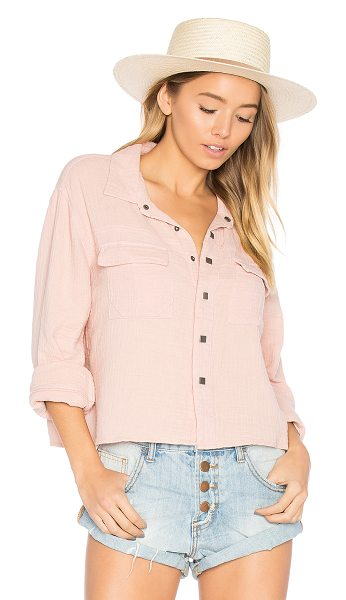 One Teaspoon The Soul Silence Shirt in pink - Cotton blend. Front button closure. Chest flap pockets....
