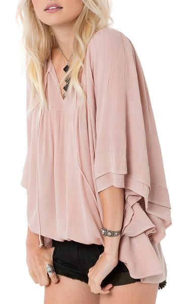 O'Neill chet woven top in adobe rose - Woven crinkle gauze lends a dreamy ethereal feel to this...